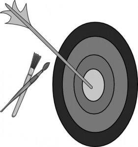 Alvo pintado em torno de flecha