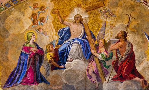 Jesus, ladeado por Maria e João Batista