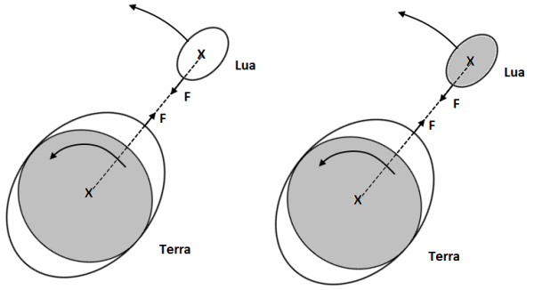 Sistema Terra-Lua, segundo Newton.